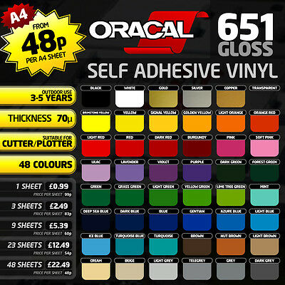 A4 Sheet - Oracal 651 Polymeric Self Adhesive Gloss Vinyl