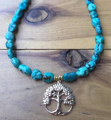 ॐCrystal Blissॐ Turquoise Spiritual Necklace w Gold Tree Of Life Pendant