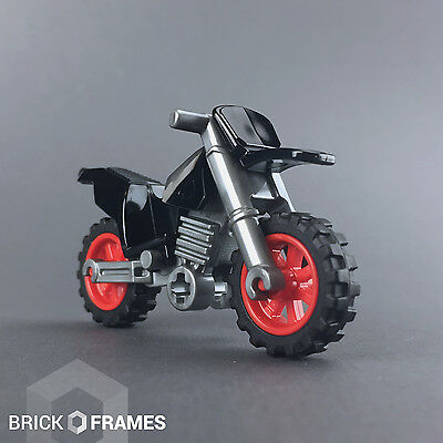 Lego Dirt Bike / Motorcycle - BRAND NEW - Black with Red Rims - City Town
