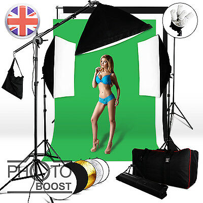Photo Boom Arm Reflector 2850W Softbox Lighting Kit 3 Background Backdrop Stand