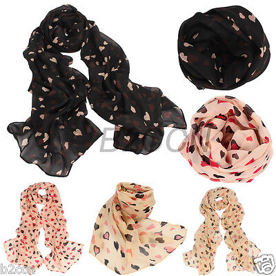 Fashion Love Heart Soft Long Neck Shawl Scarf Wrap Stole For Women Free Shipping