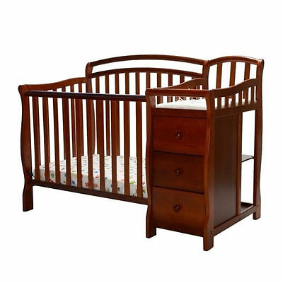 Dream On Me Casco 4-in-1 Mini Crib and Changing Table in Espresso
