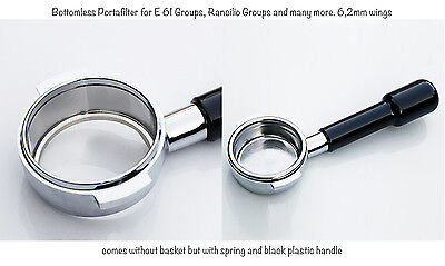 Bottomless Portafilter for E61 standard Groups and Rancilio - 6,2 mm wings
