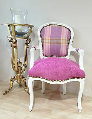 French Louis Armchair White Pink Tartan Shabby Chic Antique Style Bedroom Hall
