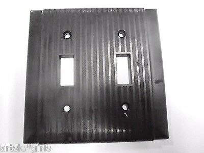 Vtg Arrow H&H Bakelite Ribbed Brown Double  Switch Plate No Cracks