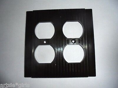 Vtg P&S Uniline Bakelite Ribbed Brown Double Duplex Receptacle Plate