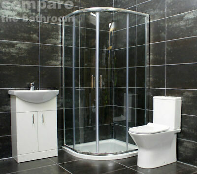 Hera 800 or 900mm Quadrant Shower Enclosure Suite Ensuite Choice of Toilet Style