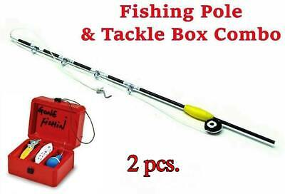 "Miniature 6"" Fishing Pole & Tackle Box Combo  Fairy Garden Dollhouse Shadow Box"