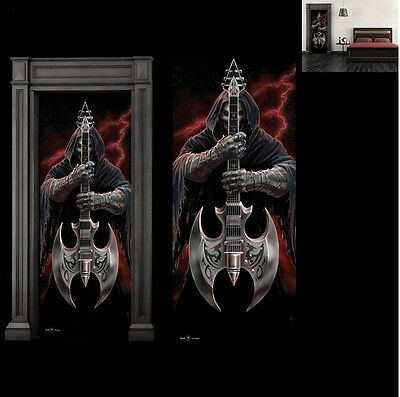 Anne Stokes Gothic Skelton Door Mural Rock God with Rock God Figurine
