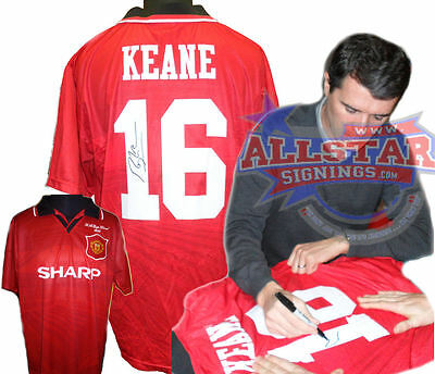 Rare Roy Keane Signed Manchester United 16 Football Shirt With Proof & Coa