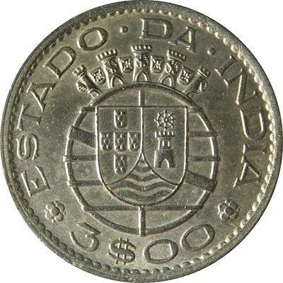 Ek // 3 Escudo 1958 India Portuguese Colony UNC
