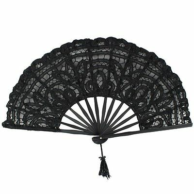 Handmade Cotton Lace Folding Hand Fan for Party Wedding Decoration (Black) DM