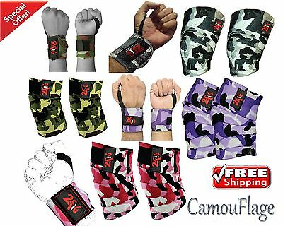 2Fit Knee Wraps Weight Lifting Gym Training CAMO + Wrist Wraps Grip Fist Bandag