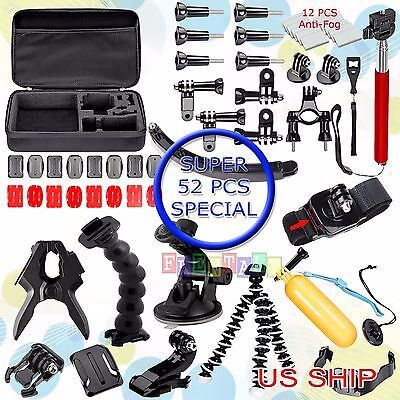 52in1 Jaws Car Mount Floating Monopod Accessories Kit For GoPro 2 3 4  Camera