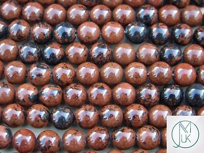 Mahogany Obsidian Gemstone Round Beads 8mm Jewellery Making (47-50 Beads)