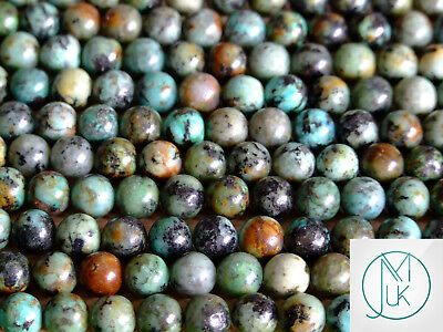 African Turquoise Natural Gemstone Round Beads 8mm Jewelry Making (47-50 Beads)