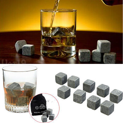 9pcs Rocks Cubes Granite & Pouch Scotch Cooler Whisky Drinks Ice Whiskey Stones