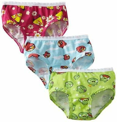 2 PACKAGES (6 PCS) Little Girl's Fruit of the Loom Angry Birds Briefs Underwear