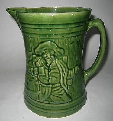LARGE Vintage McCoy Beer Pitcher-Jug MAN With Butter Churn Design GREEN
