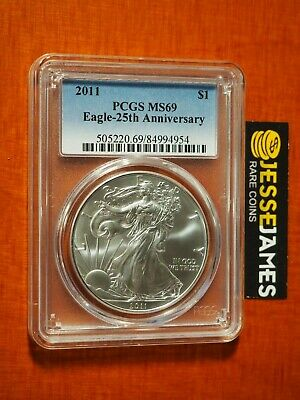 2011 American Silver Eagle Pcgs Ms69 Traditional Blue Label