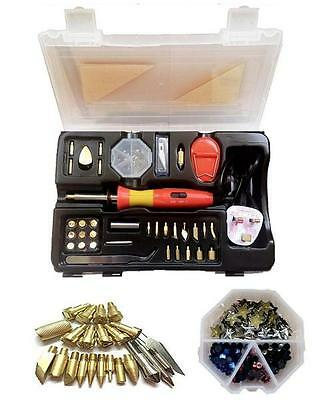 15W/30W Pyrography Tool Kit Woodburning Craft Pen With 240 Diamond Tips + Stand