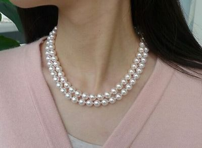 """double strands 8-7.5 mm Akoya white round pearl necklace18""""19""""14K gold clasp"""