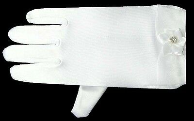 Girls  White  Fancy Satin  Gloves   With  Rhinestones.  Size: 4-16  ( Glv708 ^*)