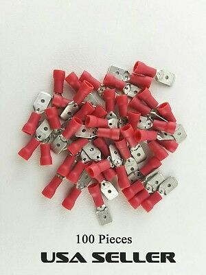 100 Red 22-18 Gauge .25 Male Insulated Wire Quick Disconnect Connector Terminal