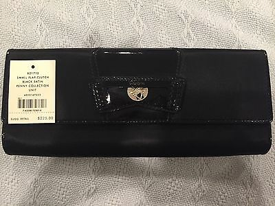 3888a730cba Cole Haan Small Flap Clutch Black Satin Penny Collection $225 Retail
