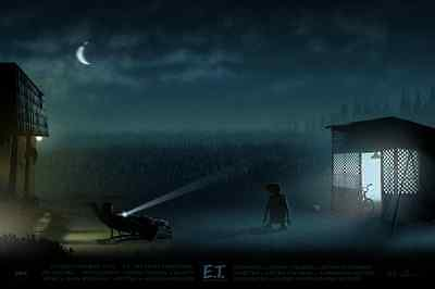 """E.T. Poster """"A Spaceman Came Traveling"""" 36x24 Numbered #/100 Mondo"""
