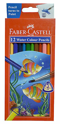 5 x FABER-CASTELL 12 Water Colour Color Pencil Drawing Classic Colouring Pencils