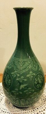 Korean Green Celadon Crackle Glaze Vase- Lovely Cranes Birds-Signed.