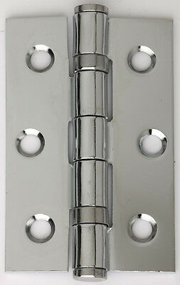 5 PAIRS of 75mm POLISHED CHROME STEEL BALL BEARING BUTT HINGES