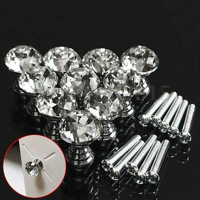 10Pcs 20mm Crystal Glass Door Knobs Drawer Cabinet Furniture Kitchen Pull Handle