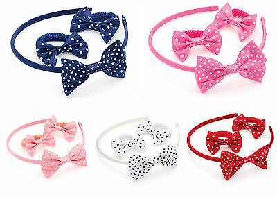 Polkadot Headband and Ponio Set Hair Band Aliceband Hair Bobbles