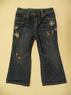 Baby Gap Girls Size 2T Denim Jeans With Embroidery Butterfly Boot Cut Cute!