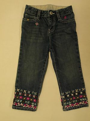 Baby Gap Girls Size 2T Denim Jeans Embroidery Flowers Straight Leg Adj Wasit