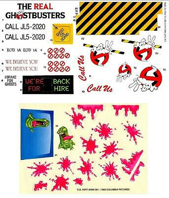 Replacement Sticker Label Sheet For Vintage Kenner The Real Ghostbusters Ecto-1A