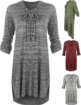 Button Sleeve Dip Hem Top Tie V-Neck Long Turn Up Plus Size Womens Dress 14-28