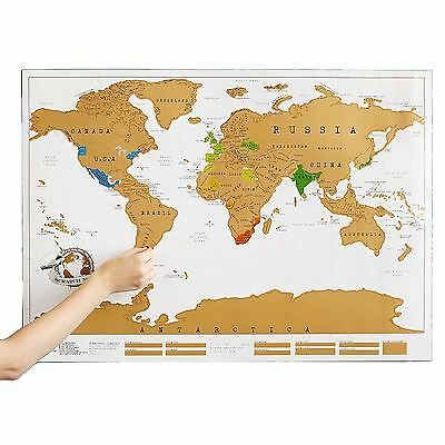 Delux Scratch Off World Map Poster Personalized Travel Vacation Personal Gift Uk