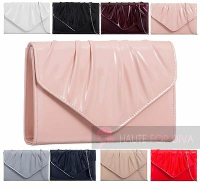 New Womens Silver Chain Envelope Pleated Patent Leather Party Clutch Bag Purse