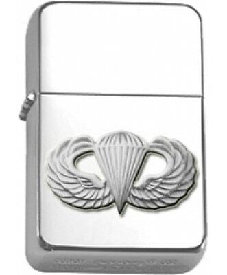 US Army Paratrooper Silver Wings Polished Chrome Star Lighter