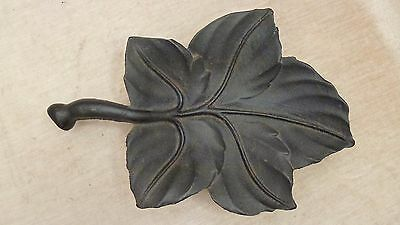 "Cast Iron Leaf Bowl with Gate Mark aesthetic movement from local estate 14"" long"