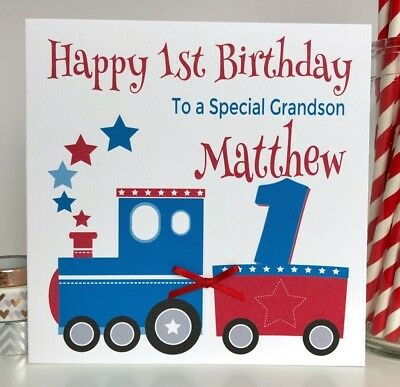 Personalised train birthday card grandson son nephew godson first personalised train birthday card grandson son nephew godson first 1st any age bookmarktalkfo Images