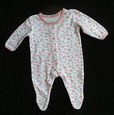 Baby clothes GIRL newborn 0-1m<9lbs/4.1kg George white/mid-pink floral babygrow