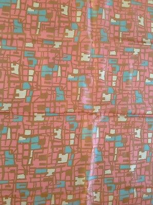 "2 Pieces Vintage 50s Silky Rayon Fabric Abstraction Pattern 37""x36"" 37""x40"""