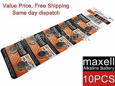 10x Maxell LR1130 189 AG10 GP89A 1.55V cell coin button battery Japan Ed 12-2020
