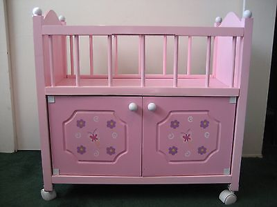 Baby Doll Wood Changing Table Pink W/Purple Flowers Butterfly Badger Basket Co