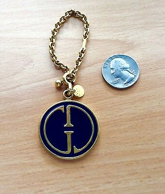 GUCCI Italy Lg Blue & Gold Enamel Dbl Sided Medallion Charm for Necklace Jewelry