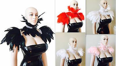 Feather neck corset choker feather collar crystal rhinestone Feather epaulettes